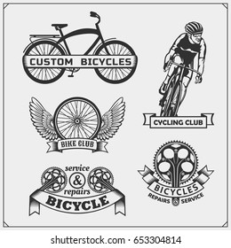 Set of cycle racing labels, badges, emblems and design elements.
