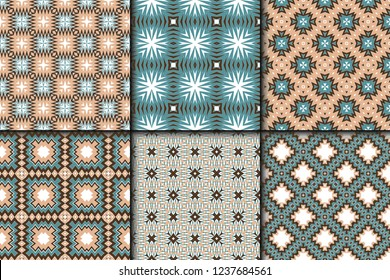 Set of Cyclical Pattern of Geometric Shapes. Seamless Vector Illustration. For the Interior Design, Wallpaper, Printing, Textile Industry, Scrapbook Paper