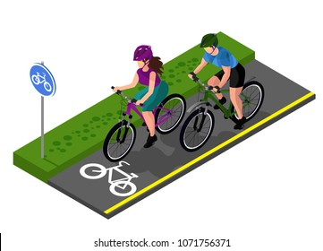 set of cyclists on a bike path in the park. Man and woman. isometry 3d