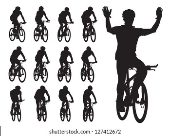 Set of cyclist's silhouettes in the bicycle race. Sport illustration.