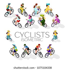 Set of cyclists. A woman on a bicycle, a man on a bicycle, a child on a bicycle. Isometric 3d