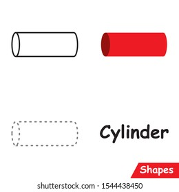 Set of Cylinders ready to use for education such as coloring pages, trace shapes. learn Cylinder shape.
