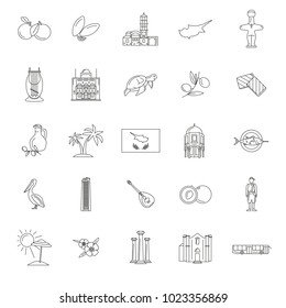 Set of Cyprus symbols and landmarks. Outline vector illustrations. Cyprus country symbols, map, food, cilture and traditions , cypriots, sea beach, turtle and palm trees.