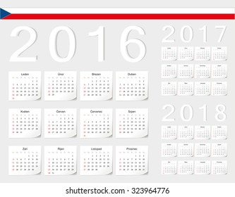 Set of Czech 2016, 2017, 2018 vector calendars with shadow angles. Week starts from Sunday.