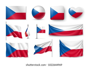 Set Czech Republic flags, banners, banners, symbols, flat icon. Vector illustration of collection of national symbols on various objects and state signs