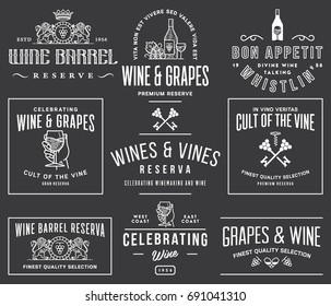 Set D of wine badges and icons for any use white on black