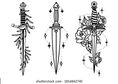 Set of daggers in vector. Decorated daggers. Roses and an olive branch entwining.