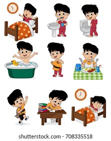 Set of daily cute boy. Boy wake up, brushing teeth, kid pee, taking a bath, dressed up, breakfast, kid learning, kid sleep. vector and illustration.