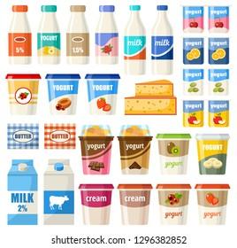 Set of dairy products. Milk, yogurt, cheese, cream. Vector illustration