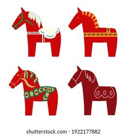 Set of dala horse, swedish toy, vector isolated.