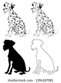 Set of dalmation dogs illustration