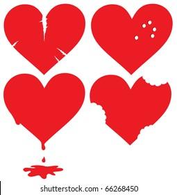 Set of damaged hearts
