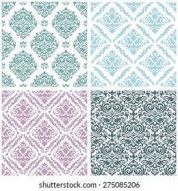 Set damask floral seamless pattern. Vintage background, vector illustration, Victorian ornament.