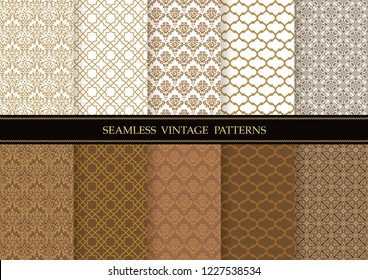Set of damask vintage seamless patterns, vector illustration. Horizontally and vertically repeatable.