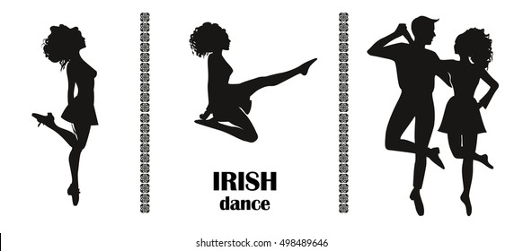 Set of dance figures. Irish dance. Silhouette. Design posters, invitations to competitions and championships