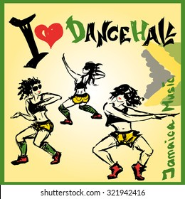 Set Dancer dancehall style, hand drawing, vector illustration
