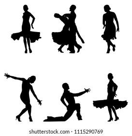 set dancers black silhouettes sports ballroom dancing