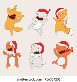 Set with dancing animals in christmas hoods. Wild animals hand drawn with closed eyes in cute poses