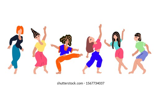 A set of dancing and jumping girls in colorful clothes. Vector illustration. Character collection. Isolated art on a white background