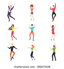 Set of dancing people in flat style. Young and dance, dancer pose set, fashion and happy. Vector illustration