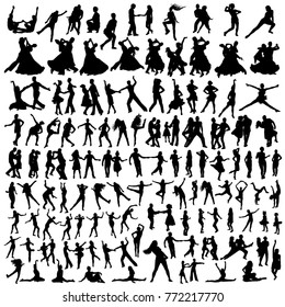Set of dancing people silhouettes