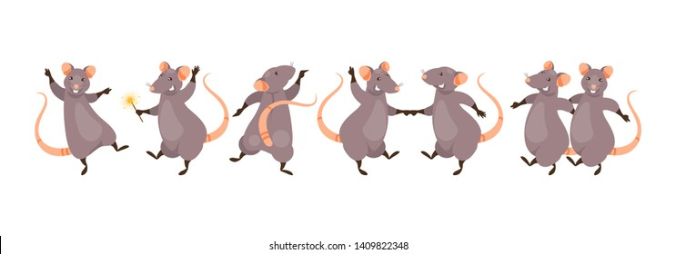 Set of dancing rats. Chinese symbol of the new year. Vector illustration