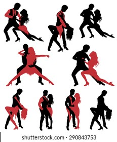 Set of dancing silhouettes.