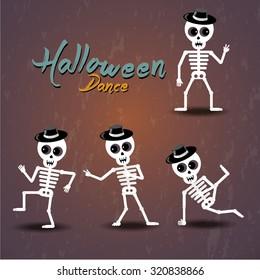 Set of dancing skeleton, Halloween