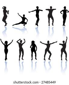 set of dancing women