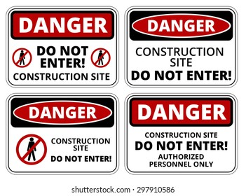 Set of danger Construction site signs, four designs, a4 proportions, vector illustration