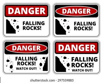 Set of Danger Falling Rocks signs, four designs, a4 proportions, vector illustration
