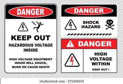 set of Danger High Voltage signs (danger hazardous voltage inside keep out, high voltage equipment inside will shock burn or cause death, danger shock hazard, danger high voltage within keep out)