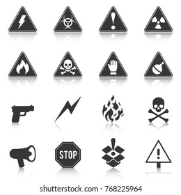 Set of danger icons, hazard, attention. Vector illustration