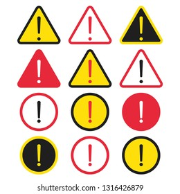 Set of danger sign. Attention symbol with exclamation mark icon. Risk sign black, red and yellow. Caution error. Vector illustration