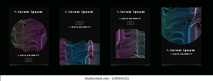 Set of dark abtract posters for music event, party invitation. Futuristic modern design with glitched neon lines on dark background.
