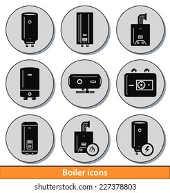 Set of dark boiler icons with reflection line