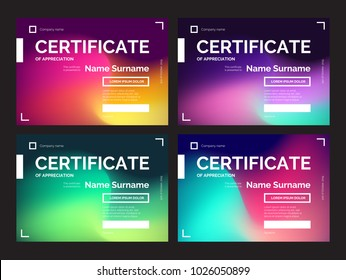 Set of dark certificate templates with modern gradients in abstract style. Colorful vector illustration for print or web design. Can be used for diploma, coupon, award, winner certificates.