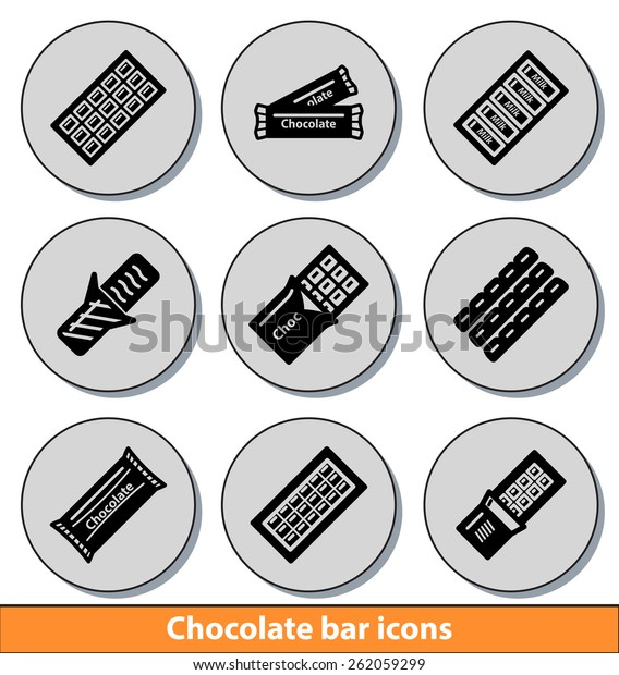 Set of dark chocolate bar icons with reflection line