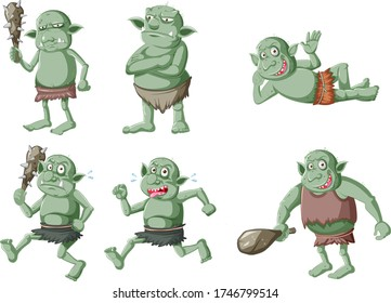 Set of dark green goblin or troll in different poses in cartoon character isolated illustration