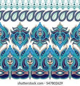 Set of dark seamless vector borders. Floral paisley oriental pattern.