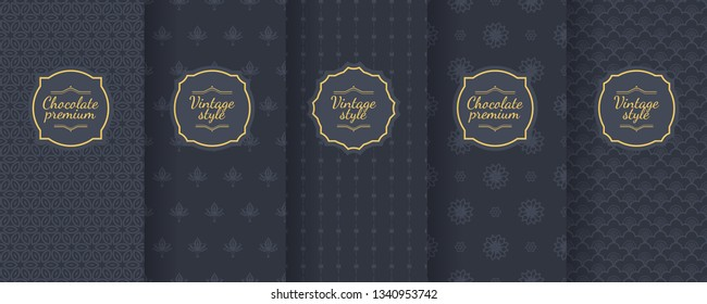 Set of dark vintage seamless backgrounds for luxury packaging design. Geometric pattern in black. Suitable for premium boxes of cosmetics, wine, jewelry. Elegant vector ornament set. Fabric print.