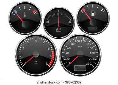 Set of dashboard measuring devices - fuel gauge, tachometer, speedometer, odometer. Vector illustration isolated on white background