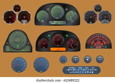 Set of dashboards with speedometer, rpm gauge, clock, display, oil, temperature and fuel level. Vector eps10.