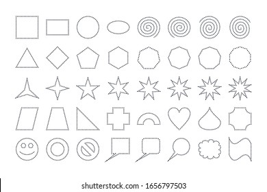 Set of Dashed Lines Basic Shapes Design Elements. Vector Icons Set isolated on white background