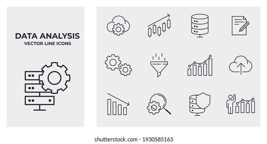 Set of Data analysis icon. Financial Analytics pack symbol template for graphic and web design collection logo vector illustration