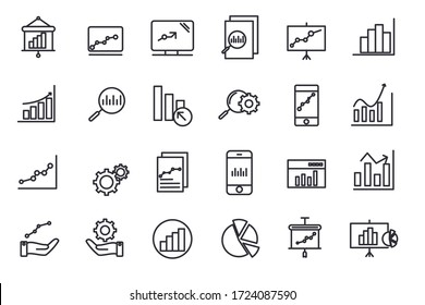 set Data Analysis icon template for graphic and web design collection. Data Analysis pack symbol logo vector illustration