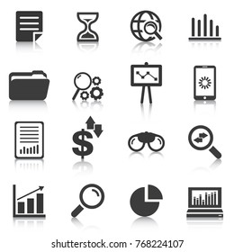Set of data analysis icons, charts, graphs. Vector illustration
