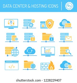 Set of data center and hosting service icons in flat style vector illustration.