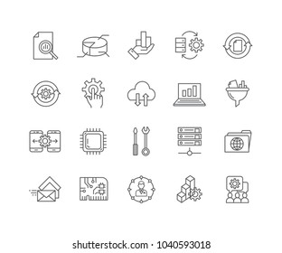 Set of Data processing outline icons isolated on white background.