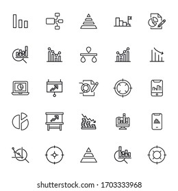 Set of data related vector line icons. Premium linear symbols pack. Vector illustration isolated on a white background. Web symbols for web sites and mobile app. Trendy design.